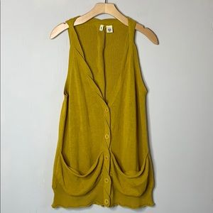 Anthro Moth Mustard Yellow Sleeveless Cardigan
